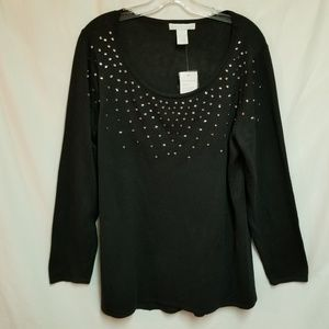 Design History Black Knit Beaded Sweater Size 1X